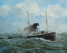 Arnold De Lange Radical Faeries, Sea Storm, Steam Boats, Ship Paintings, Merchant Navy, Queer Art, Boat Painting, Tug Boats, Ship Art