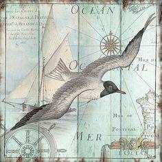 Highland Dunes 'La Mer: Seagull' Graphic Art Print on Wrapped Canvas Deco Marine, Foto Transfer, Nautical Art, Poster Prints, Art Prints, Sea Art, Coastal Art, Decoupage Paper, Beach Crafts