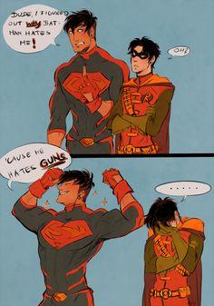 (Young Justice) Superboy and Robin Marvel Fanart, Marvel Dc Comics, Im Batman, Batman Robin, Gotham Batman, Batman Art, Teen Titans, Nightwing, Batgirl