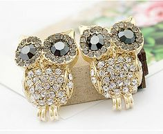 Fashion Shining Rhinestone Owl Earring & Studs