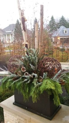 one of two flanking christmas flower arrangements Outdoor Christmas Planters, Christmas Urns, Christmas Greenery, Outdoor Christmas Decorations, Rustic Christmas, Winter Christmas, Outdoor Pots, Winter Container Gardening, Winter Planter
