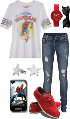 """The Amazing Spiderman"" outfit Tokyo Street Fashion, Fashion 90s, Nerd Fashion, Fandom Fashion, Fashion Looks, Marvel Fashion, Neo Grunge, Grunge Style, Soft Grunge"