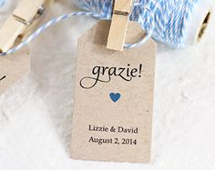Thank You For The Wedding Gift In Italian : Wedding Favor TagGrazie Thank You in Italian, Bridal Shower Favor ...