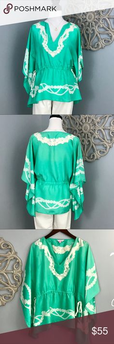Lilly Pulitzer | Mint Green Silk Top Mint green silk doiman sleeve top by Lilly Pulitzer.   It's perfect as a top especially with white jeans or as a beach coverup.  The sides have a draw string ribbon.  EUC.  No rips, stains, snags or tears.  No trades. Lilly Pulitzer Tops