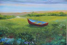 Bote En La Grama - Alicia Maury Oil Paintings - Paintings & Prints Landscapes & Nature Beach & Ocean Other Beach & Ocean - ArtPal Buy Paintings, Original Paintings, Nature Beach, Minimalist Painting, Fishing Boats, Landscapes, Ocean, Oil, Prints