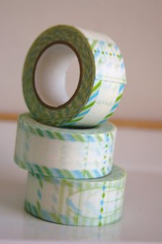 Washi Tape in Green/Blue Label  ONE ROLL by SewFineFabric on Etsy