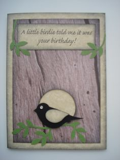 Here my Stampin Up bird punch comes in handy for a man's card.