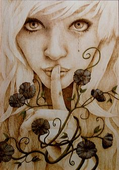 """Secret Love""  Wood burning, Color  Feb 2012    by Chicory Narita"