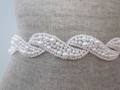 Pearl scroll Beaded wedding Sash / belt, white pearl wave design