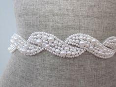 Pearl scroll Beaded wedding Sash / belt, white pearl wave design
