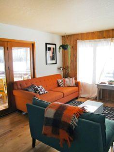 Living Room Ideas Orange Sofa sara & rich's colorful, calm & sunny california haven | apartment