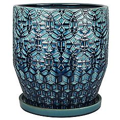 Trendspot Pot style rivage, bleu de 25.4 cm I own this beautiful pot and it is truly lovely .