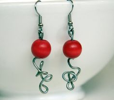Bright Red Earrings. Beaded Earrings. Abstract Sterling Silver Wire Design. Red Jewelry. Sterling Silver Red Earrings. Gift for her.