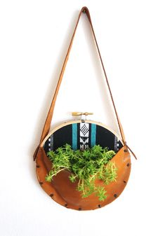 leather embroidery hoop planter/catch all organizer