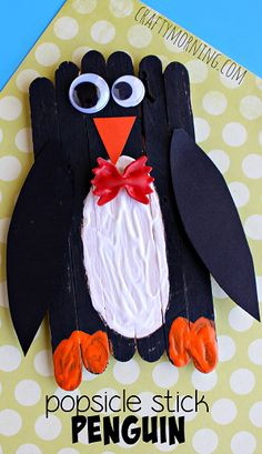 Make an adorable bow tie penguin craft with popsicle sticks. This would be a great winter art project for kids young or old. Daycare Crafts, Classroom Crafts, Preschool Crafts, Kids Crafts, Arts And Crafts, Preschool Kindergarten, Toddler Crafts, Creative Crafts, Popsicle Stick Crafts