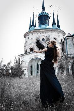 "♂ Femine beauty ""Black Queen"" by Nava Monde lady in black with black bird"