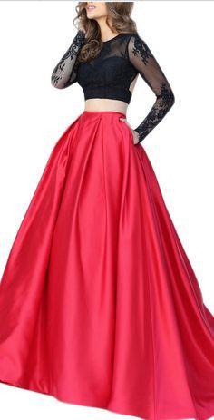 Prom Dress, Two Piece Long Sleeve Prom Dress,Top Lace Prom Dress,Backless Prom Dresses Party Gowns