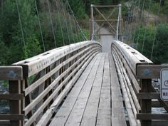 """I know it is not covered but I just love this bridge .... I want to go here!! think I must add """"to cross this"""" to my bucket list!!   Swinging bridge Riverside state park Spokane"""