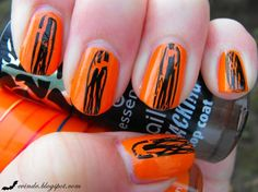 All you need is a black crackle top coat and an orange nail polish. You just draw a line on the middle of your nail with your crackle pol. Orange Nail Polish, China Glaze, Holiday Nails, Halloween Nails, You Nailed It, Swatch, Nailart, Blog, Inspiration