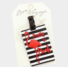 "Bon Voyage Flamingo ""Pretty In Pink"" Rubber Luggage Tag #BonVoyage"