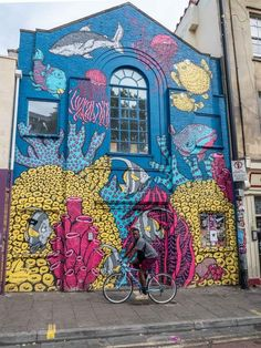 Bristol Stokes Croft street art mural: Fish Go beyond Banksy in Bristol and discover eye popping murals in three different neighborhoods. See a Bristol street art scene full of world class urban art. Street Art Banksy, Murals Street Art, 3d Street Art, Street Art Artiste, Wall Street, Street Art Utopia, Urban Street Art, Graffiti Murals, Best Street Art