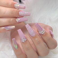 Pink Acrylic Nails With Rhinestones Manicures Ideas Bling Acrylic Nails, Best Acrylic Nails, Rhinestone Nails, Bling Nails, Swag Nails, 3d Nails, Pastel Nails, Cute Acrylic Nail Designs, Nails Design With Rhinestones