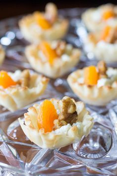 Elegant mini phyllo cups are filled with creamy goat cheese, sweet apricots, and toasted walnuts to make these goat cheese appetizer bites. #MySignatureMoments #sponsored @Albertsons