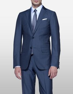 I think Tim is looking for a navy suit with a slight pattern, like this or more subtle.