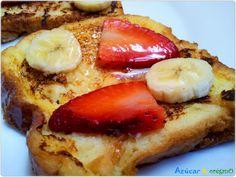 Desayuno francés - Tostada francés Tostadas, French Toast, Breakfast, Sweet, Food, How To Make, Deserts, French Tips, Eten