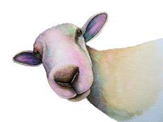 Gros mouton A3 Art signé des caractères d'une aquarelle originale de l'artiste Maria Moss