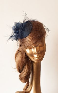 Navy Blue FASCINATOR with BIRDCAGE VEIL by ancoraboutique, $139.00