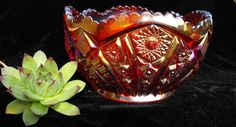 *INDIANA GLASS ~ Ruby Red Carnival Glass, Heirloom Center Bowl Large Heavy 5x 8