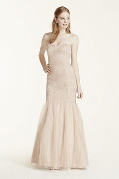 Strapless Lace Applique Fit and Flare Dress 211S69300