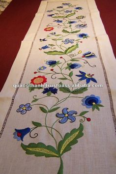 Hand Made Embroidery Table Runner - Buy Embroidery Table Runner,Hand Embroidery. - Hand Made Embroidery Table Runner – Buy Embroidery Table Runner,Hand Embroidery… Embroidery Store, Embroidery Letters, Silk Ribbon Embroidery, Crewel Embroidery, Hand Embroidery Designs, Embroidery Thread, Machine Embroidery, Embroidery Suits, Modern Table Runners