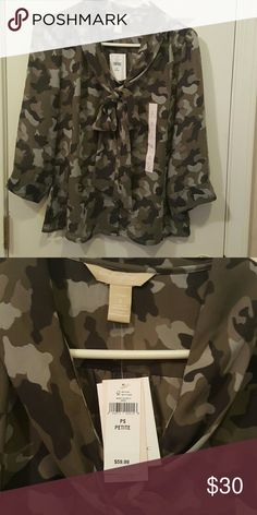 Banana Republic Camo dress blouse brand new never worn  Sz small petite Check out my closet for newly added items Banana Republic Tops Blouses