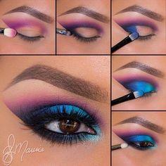Make up tons bleu et rose violet
