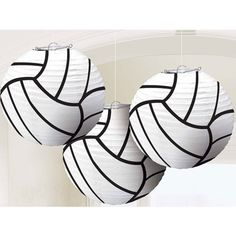Get ready for game day by hanging our Volleyball Lanterns. This set of three white tissue paper lanterns feature a wire frame and have the look of a volleyball. Volleyball Birthday Party, Volleyball Senior Gifts, Volleyball Bedroom, Volleyball Locker, Volleyball Tips, Coaching Volleyball, Volleyball Players, Beach Volleyball, Volleyball Crafts