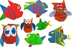 I've been wanting to do these fish with art center kids... now we'll have to do owls too!