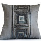 Throw Pillow Cover -Grey Silk Pillow -Gray Silk Bead Pillow -Decorativ Silk Pillow, Cover Gray, Decorative Cushions, Table Linens, Throw Pillow Covers, Applique, Beads, Crystals, Grey