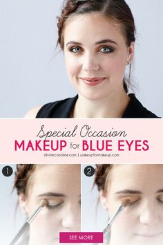 Bronze tones bring out blue eyes and really make them pop. Try this look for your next party or event. #blueeyes #eyemakeup