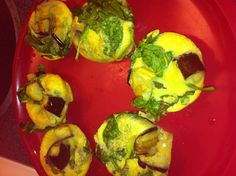 Ideal Protein Plain Omelet mix filled with roasted eggplant and spinach muffins :)