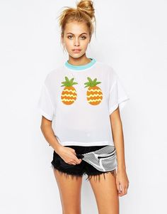 Lazy Oaf | Lazy Oaf Cropped T-Shirt With Pineapple Applique at ASOS