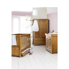 Love this Silvercross Cantebury setfrom John Lewis . Oak seems apt for the woodland theme we've started in what will become his room. It's not a large space so would make best use of it.