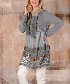 269346b42e9 Simply Couture Gray Floral-Embroidery Layered Tunic Dress & Scarf - Women