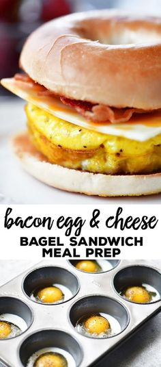 This Bacon Egg Cheese Bagel Sandwich meal prep recipe give you breakfast for the week! Bake muffin tin scrambled eggs and store them in the fridge. For breakfast warm the baked scrambled eggs in the microwave add to a toasted bagel with cheese and bacon. Breakfast Sandwich Recipes, Breakfast Bagel, Bagel Sandwich, Eggs For Breakfast Sandwiches, Meal Prep Breakfast, Microwave Breakfast, Picnic Sandwiches, Finger Sandwiches, Bacon And Egg Sandwiches