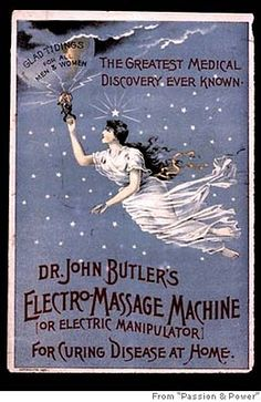 """bycrookedsteps: """" The Victorian vibrator (or 'Electro-Massage Machine') was perscribed to women with hysteria around the century. Doctors believed that women had a certain amount of 'female. Retro Ads, Vintage Advertisements, Vintage Ads, Vintage Prints, Vintage Posters, Vintage Images, Vintage Labels, Vintage Signs, Unique Vintage"""