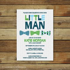 bow ties baby shower invitation, little man, baby boy bowties
