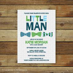 bow ties baby shower invitation, little man, baby boy bowties