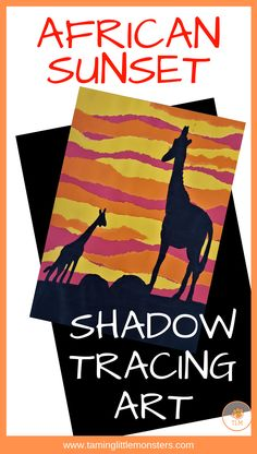 Use your mini world figures to create this beautiful African sunset. Your kids will love learning about shadows, angles and distortion in this fun art and STEM activity for kids. for kids African Sunset Shadow Tracing Art - Taming Little Monsters African Art Projects, African Crafts, Cool Art Projects, Projects For Kids, Art Project For Kids, African Art For Kids, Art Activities For Kids, Stem Activities, Kids Art Lessons