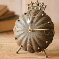 Beautiful Clock With Crown On Top    $22.00 @ http://www.antiquefarmhouse.com/current-sale-events/whimsical-accents.html